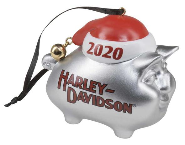Harley-Davidson 2020 Hog w/ Santa Hat & Bell Hanging Ornament - Silver HDX-99199 - Wisconsin Harley-Davidson