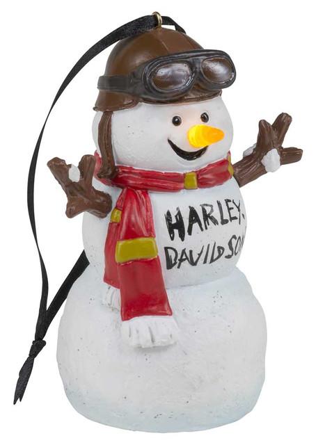 Harley-Davidson Custom Sculpted Biker Snowman LED Ornament - White HDX-99208 - Wisconsin Harley-Davidson