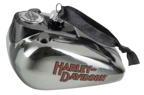 Harley-Davidson Blown Glass H-D Logo Gas Tank Ornament - Silver Finish HDX-99201 - Wisconsin Harley-Davidson