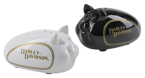 Harley-Davidson Hog Salt & Pepper Ceramic Shaker Set - Black & White HDX-99183 - Wisconsin Harley-Davidson