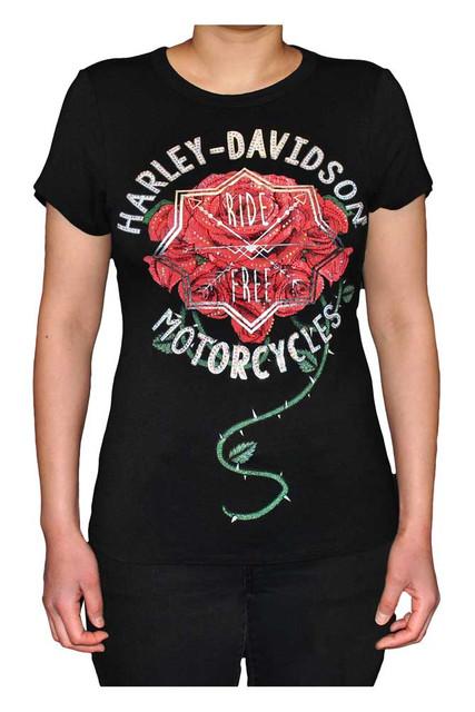 Harley-Davidson Women's Embellished Roses Scoop Neck Short Sleeve Tee - Black - Wisconsin Harley-Davidson