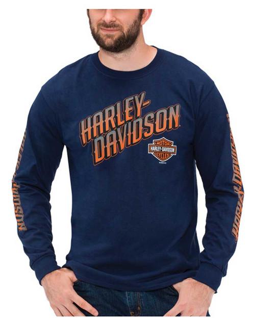 Harley-Davidson Men's Bold H-D Long Sleeve Crew-Neck Cotton T-Shirt, Navy - Wisconsin Harley-Davidson