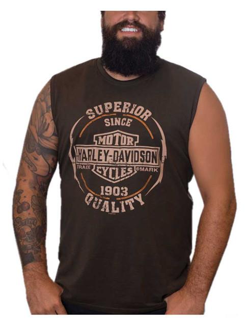 Harley-Davidson Men's Next Gear B&S Sleeveless Cotton Muscle Shirt, Brown - Wisconsin Harley-Davidson