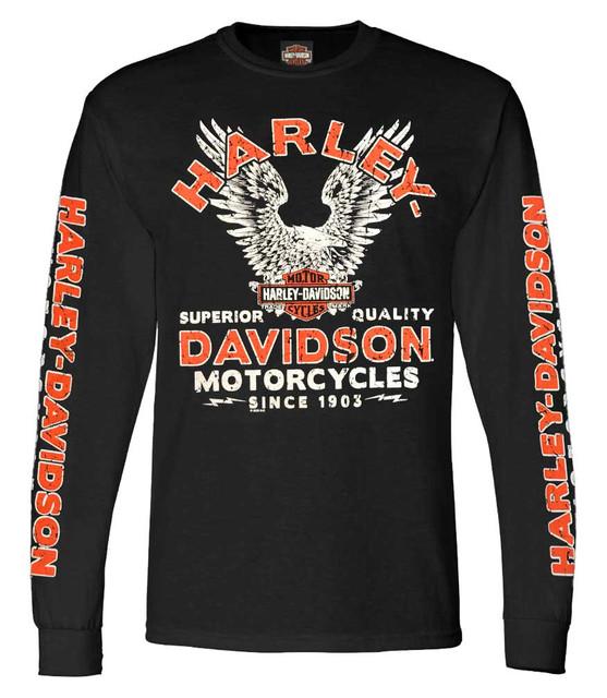 Harley-Davidson Men's Raging Eagle Long Sleeve Crew-Neck Cotton T-Shirt, Black - Wisconsin Harley-Davidson