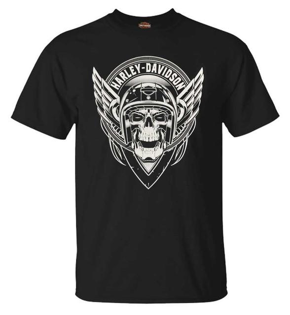 Harley-Davidson Men's Grim Flyer Short Sleeve Crew-Neck Cotton T-Shirt, Black - Wisconsin Harley-Davidson