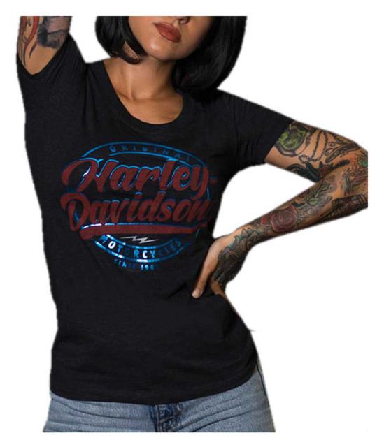 Harley-Davidson Women's Foiled Script Short Sleeve Scoop Neck T-Shirt, Black - Wisconsin Harley-Davidson