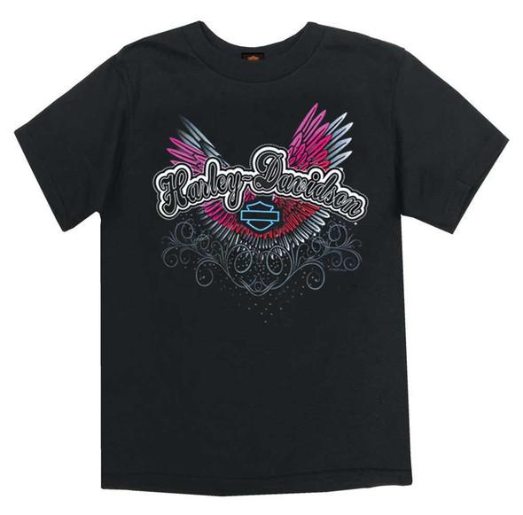 Harley-Davidson Girl's Colorful Wings Short Sleeve Tee, Toddler & Youth, Black - Wisconsin Harley-Davidson