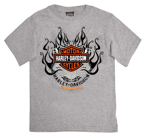 Harley-Davidson Girl's Starry B&S Short Sleeve T-Shirt, Toddler & Youth, Gray - Wisconsin Harley-Davidson