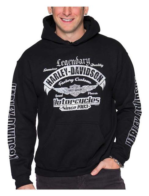 Harley-Davidson Men's Winged B&S Pullover Poly-Blend Fleece Sweatshirt, Black - Wisconsin Harley-Davidson
