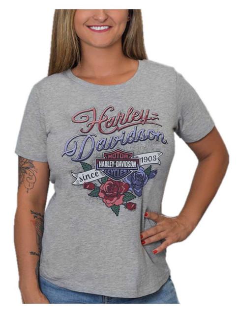 Harley-Davidson Women's Shield & Roses Short Sleeve Scoop Neck Tee, Heather Gray - Wisconsin Harley-Davidson
