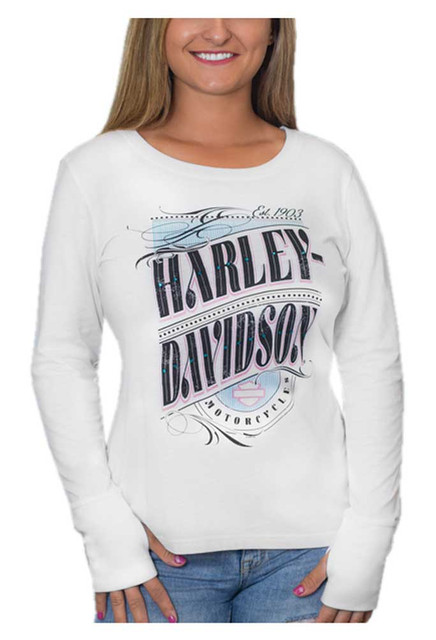 Harley-Davidson Women's Embellished Hologram Long Sleeve Scoop Shirt, White - Wisconsin Harley-Davidson