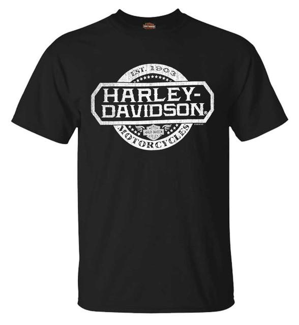 Harley-Davidson Men's Oversized H-D Crew-Neck Short Sleeve T-Shirt, Black - Wisconsin Harley-Davidson