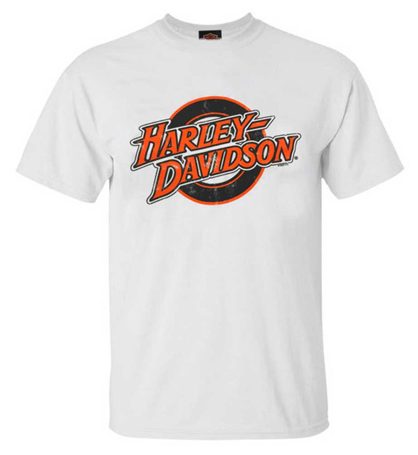 Harley-Davidson Men's Elastic H-D All-Cotton Short Sleeve Crew-Neck Tee, White - Wisconsin Harley-Davidson