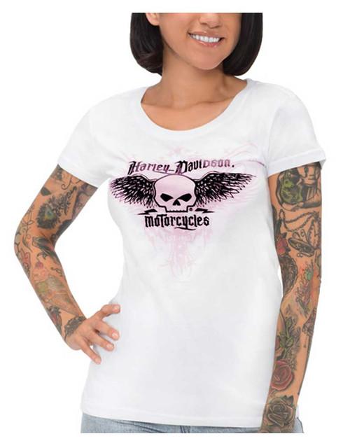 Harley-Davidson Women's Foiled Winged Willie G Skull Short Sleeve T-Shirt, White - Wisconsin Harley-Davidson