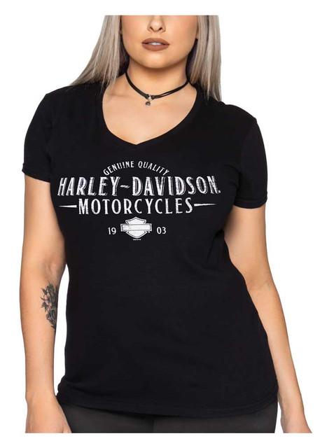 Harley-Davidson Women's Classic H-D V-Neck Short Sleeve Cotton Tee, Black - Wisconsin Harley-Davidson