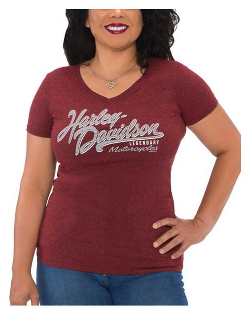 Harley-Davidson Women's Script Scroll V-Neck Short Sleeve Tee, Red/Black - Wisconsin Harley-Davidson