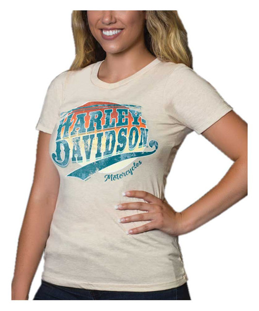 Harley-Davidson Women's Retro Sunset Crew-Neck Short Sleeve Poly-Blend T-Shirt - Wisconsin Harley-Davidson