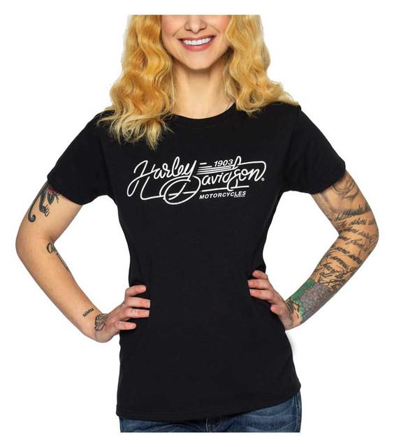 Harley-Davidson Women's H-D Carving Short Sleeve Crew-Neck Cotton Tee - Black - Wisconsin Harley-Davidson
