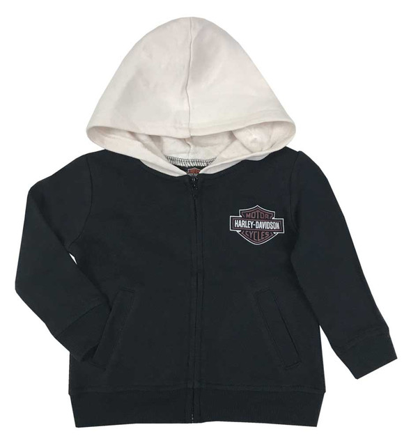 Harley-Davidson Baby Boys' B&S Fleece Lined Hooded Zipper Newborn Jacket, Black - Wisconsin Harley-Davidson