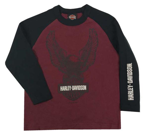 Harley-Davidson Little Boys' Up-Winged Eagle Long Sleeve Raglan Knit Shirt - Red - Wisconsin Harley-Davidson