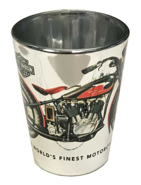 Harley-Davidson Vintage Motorcycle Shot Glass - Silver, 2 oz. 3SG4900EP - Wisconsin Harley-Davidson