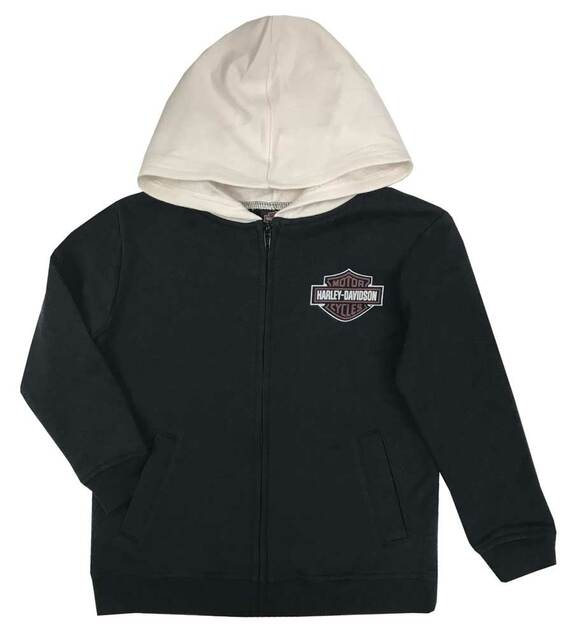 Harley-Davidson Little Boys' B&S Fleece Lined Hooded Zippered Jacket - Black - Wisconsin Harley-Davidson