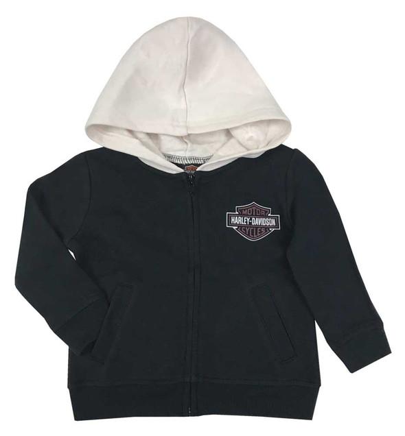 Harley-Davidson Baby Boys' B&S Fleece Lined Hooded Zipper Infant Jacket, Black - Wisconsin Harley-Davidson