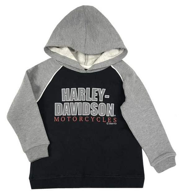 Harley-Davidson Little Boys' #1 Logo Fleece Pullover Hoodie, Black & Gray - Wisconsin Harley-Davidson