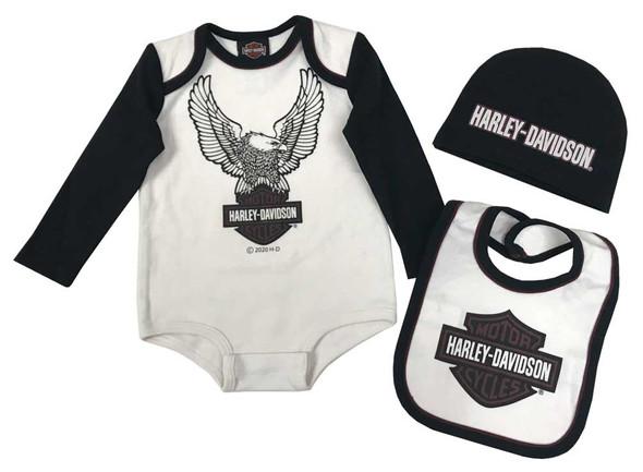 Harley-Davidson Baby Boys' 3-Piece Eagle Newborn Creeper Set w/ Hat & Bib, Cream - Wisconsin Harley-Davidson