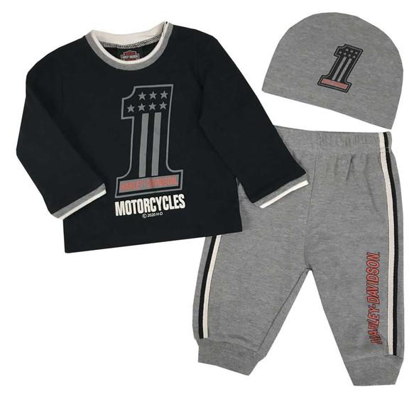 Harley-Davidson Baby Boys' #1 Logo Infant 3-piece Gift Set w/ Gift Bag 2553001 - Wisconsin Harley-Davidson