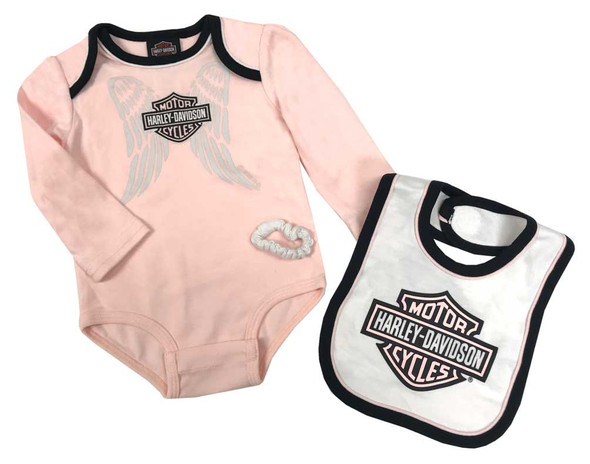 Harley-Davidson Baby Girls' 3-Piece Wing B&S Newborn Creeper Set w/ Tie & Bib - Wisconsin Harley-Davidson