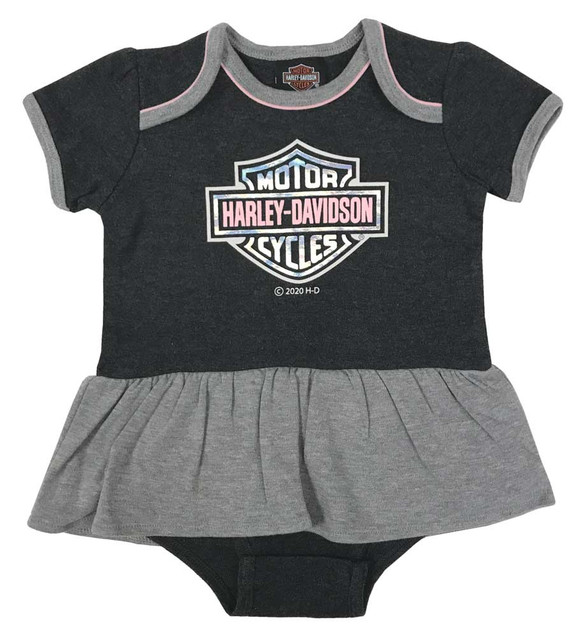 Harley-Davidson Baby Girls' Holographic Foil Knit Peplum Creeper - Gray & Pink - Wisconsin Harley-Davidson
