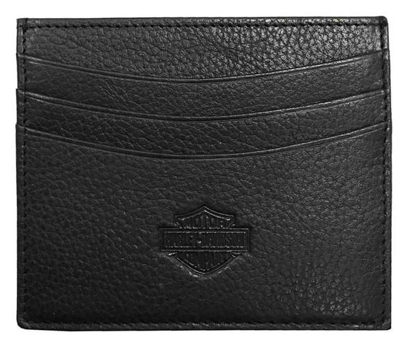 Harley-Davidson Men's Embossed B&S Front Pocket Leather Wallet XML3586-BLACK - Wisconsin Harley-Davidson