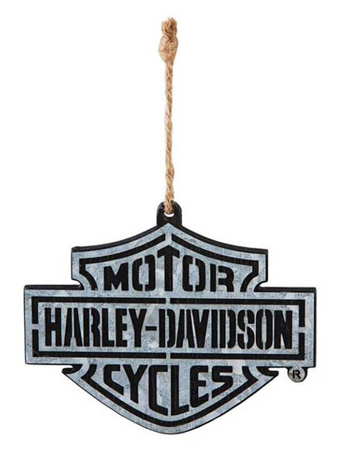 Harley-Davidson Bar & Shield Logo Layered Metal & Wood Ornament -Black 3OT4900WM - Wisconsin Harley-Davidson