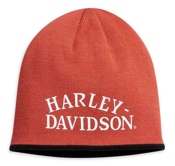 Harley-Davidson Men's Logo Reversible Knit Beanie Hat - Orange/Black 97638-21VM - Wisconsin Harley-Davidson