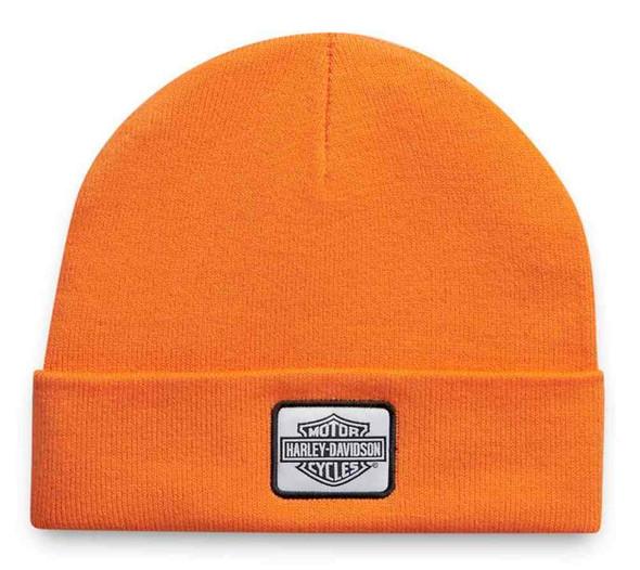 Harley-Davidson Men's B&S Logo Patch Knit Beanie Hat - Harley Orange 97642-21VM - Wisconsin Harley-Davidson