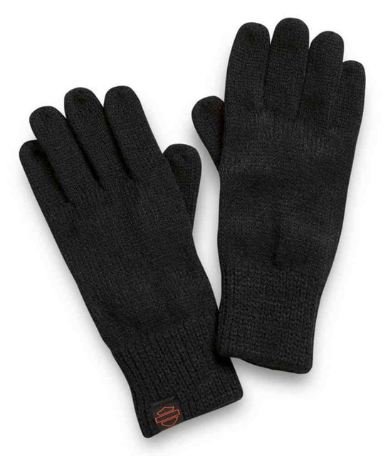 Harley-Davidson Women's 3-in-1 Knit Mitten Gloves - Black & Orange 97632-21VW - Wisconsin Harley-Davidson