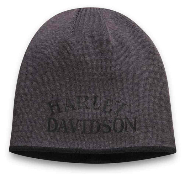 Harley-Davidson Men's B&S Logo Reversible Beanie Knit Cap, Black/Gray 97618-21VM - Wisconsin Harley-Davidson