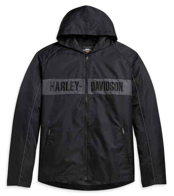 Harley-Davidson Men's Hooded Stripe Nylon Casual Jacket, Black 97432-21VM - Wisconsin Harley-Davidson
