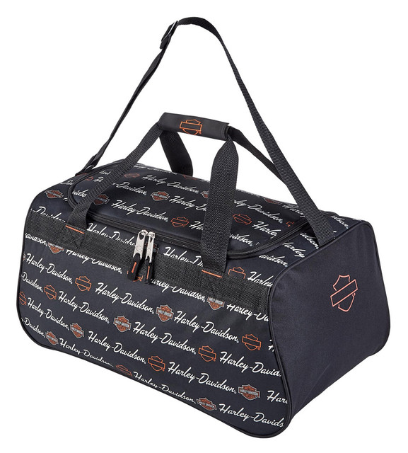 Harley-Davidson Signature Script Sports Duffel Bag w/ Adjustable Strap - Black - Wisconsin Harley-Davidson