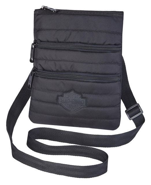 Harley-Davidson Women's Quilted X-Body Cross-Body Crossbody Sling Purse, Black - Wisconsin Harley-Davidson