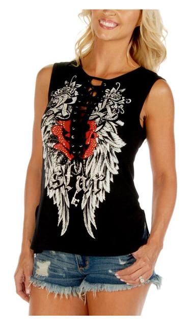 Liberty Wear Women's Embellished Rock Star Lace Up Sleeveless Tank Top - Black - Wisconsin Harley-Davidson