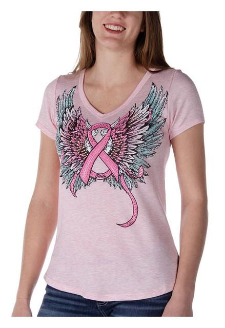 Liberty Wear Women's Embellished Fearless Pink Ribbon Short Sleeve Tee - Pink - Wisconsin Harley-Davidson