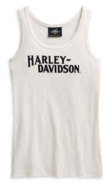 Harley-Davidson Women's Printed Graphic Sleeveless Tank Top - White 96149-21VW - Wisconsin Harley-Davidson