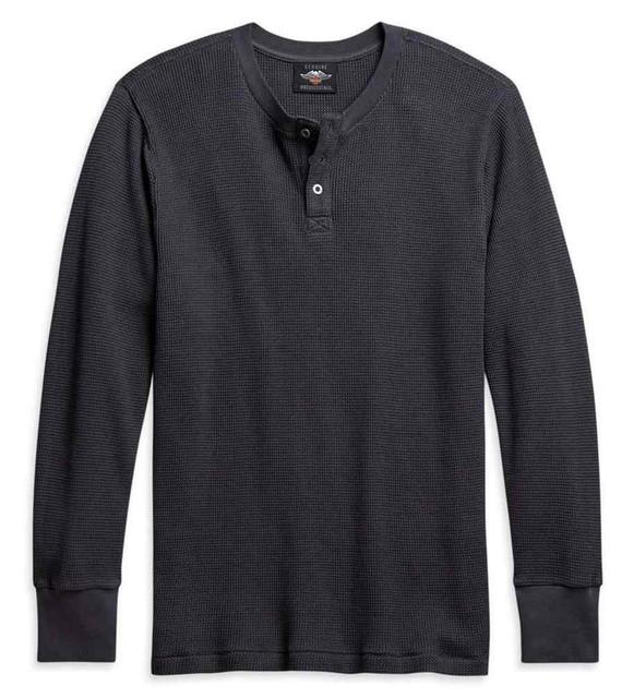 Harley-Davidson Men's Thermal Knit Long Sleeve Henley Shirt, Gray 96113-21VM - Wisconsin Harley-Davidson