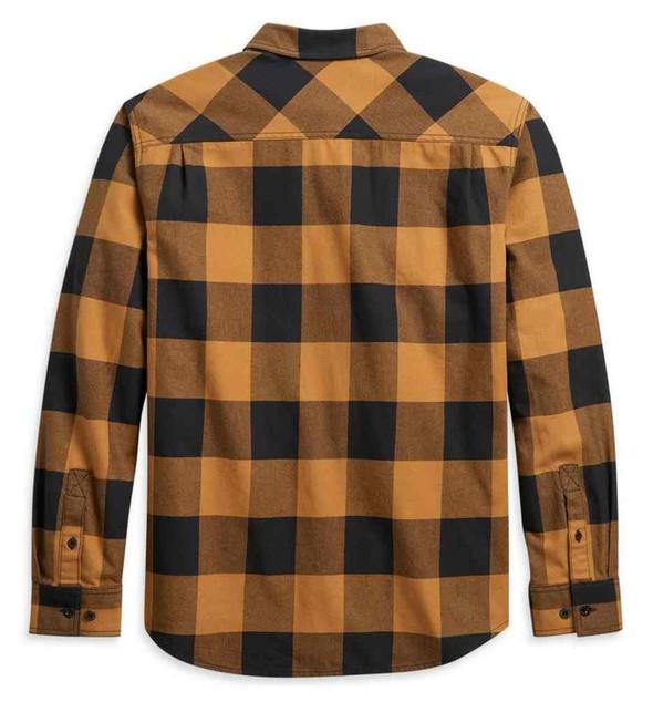 Harley-Davidson Men's Buffalo Plaid Long Sleeve Woven Shirt - Gold 96046-21VM - Wisconsin Harley-Davidson