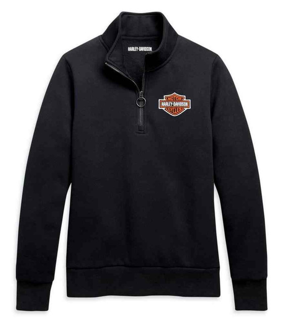 Harley-Davidson Women's B&S Logo 1/4-Zip Fleece Pullover Sweatshirt 96029-21VW - Wisconsin Harley-Davidson