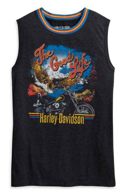 Harley-Davidson Women's The Good Life Ringer Sleeveless Tank Top 96033-21VW - Wisconsin Harley-Davidson