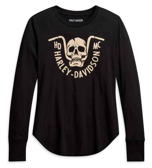 Harley-Davidson Women's Bar Bite Long Sleeve Cotton Shirt - Black 96054-21VW - Wisconsin Harley-Davidson