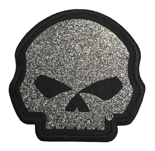Harley-Davidson Glittery Willie G Skull Emblem Patch - XS Size, Silver EM1199061 - Wisconsin Harley-Davidson